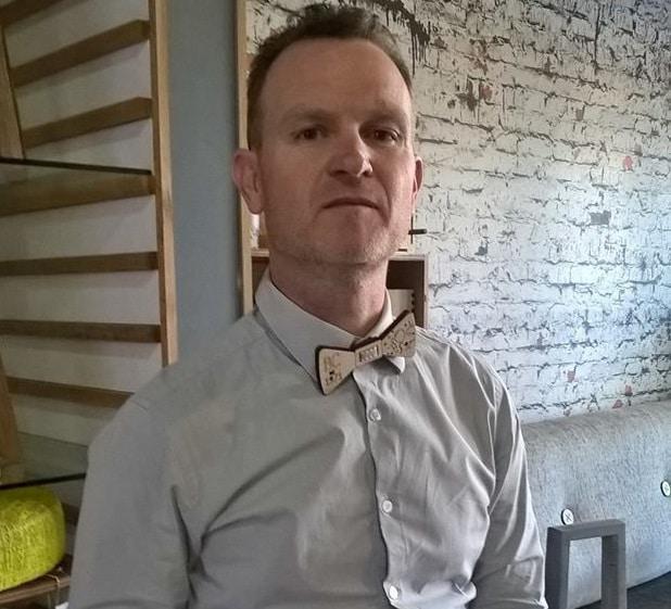 Bradley Clark wearing one of his Foo Dog wooden bow ties