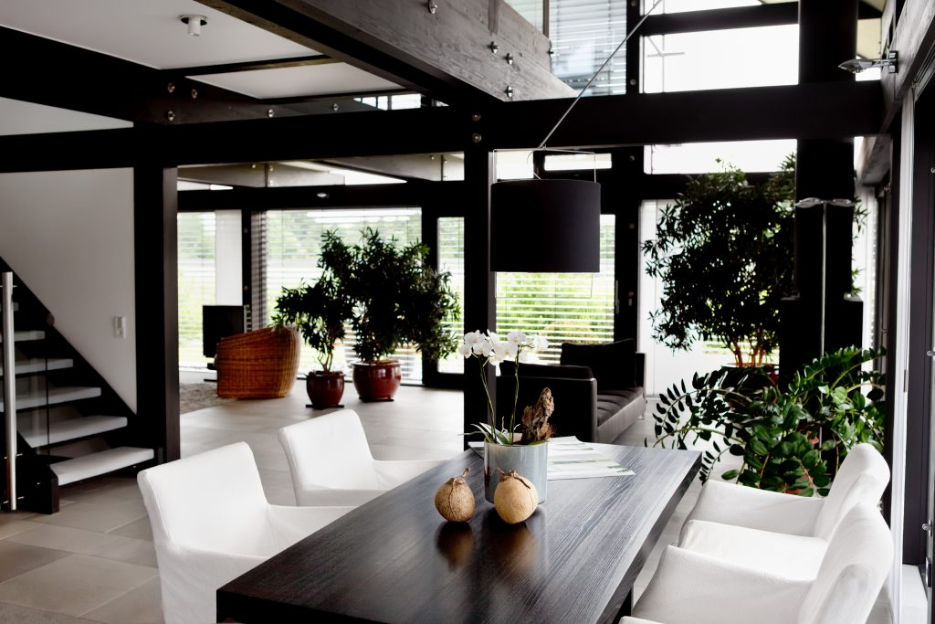 bold black and white interior